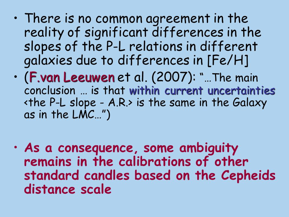 There is no common agreement in the reality of significant differences in the slopes of the P-L relations in different galaxies due to differences in [Fe/H]
